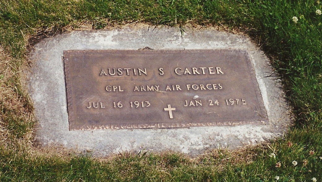 The gravemarker for Austin S. Carter at Fraternal Cemetery in Chelan, Washington.